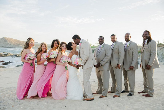 Tan suits, Tan catalina suit, How to plan a beach wedding, beach wedding attire: what's appropriate and what's not?, casual tuxedos: lots of options for farm, beach, and shabby chic weddings, if you are thinking about a destination but wondering how to plan a beach wedding, check out the images from this wedding, many brides ask us what style of beach wedding tuxedos look best, we usually recommend tan, or a lighter color suit, cabo wedding, destination wedding, cabo del sol golf club, Alvina Valenta wedding dress, blush pink, pink, romantic, DIY, soft elegance, timeless, travel theme, postcards, outdoor wedding, beach wedding, wedding party
