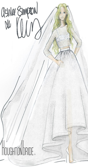 Celebrity wedding, 2014 celebrity wedding, Hollywood wedding, Ashlee simpson, evan ross, Diana ross, boho chic wedding, bohemian, Jessica simpson, simpson sisters, Connecticut wedding, Diana ross home, glam, cool, vintage inspired, Houghton wedding gown, velvet tuxedo, dolce & gabanna, lace, ashlee simpson houghton bridal gown sketch