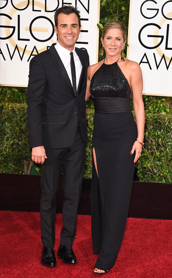 Justin Theroux and Jennifer Aniston  golden globe awards, golden globes 2015, celebrity tuxedo, classic black tuxedo with satin lapel, Red carpet, red carpet ready, Hollywood, Hollywood styles, Celebrity styles, black tie event, formal, award show,  Justin Theroux and Jennifer Aniston