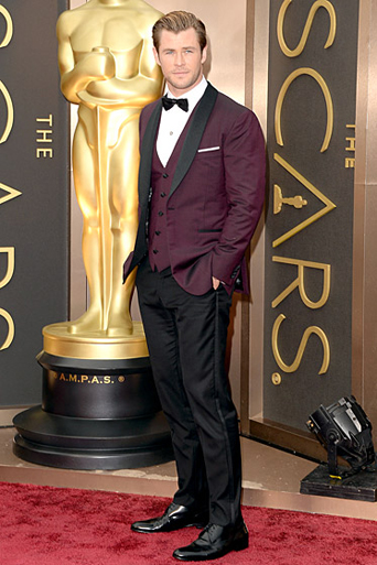 The academy award, academy awards, academy award 2015, academy awards 2015, Oscars, Oscar, Oscars 2015, Oscar 2015, 87th academy award show, the Oscars 2015, academy awards best tuxedo style, best dressed of the academy awards, best dressed of the Oscars, best dressed men at the 2015 academy awards, film award show, cinematic award show, celebrity tuxedo, red carpet, red carpet ready, different tuxedo styles, unique tuxedo styles, tuxedo styles 2015, tuxedo trends, new tuxedo styles 2015, tuxedo advice, popular tuxedo styles, best looking tuxedo, Hollywood, Hollywood styles, celebrity styles, black tie event, formal, award show, celebrity inspired tuxedo, best looking tuxedo, chris hemsworth maroon tuxedo jacket with black pants, trendy tuxedo, maroon tuxedo, colored tuxedo