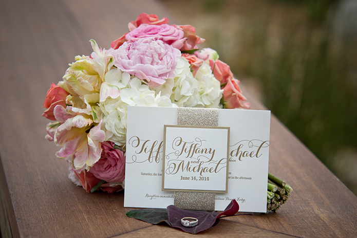 Green Acre San Diego Gold Wedding Invitations and Floral Bouquet, San Diego Wedding, organic wedding catering, equinox photo, Green Acre wedding style, friar tux shop, grey wedding suit