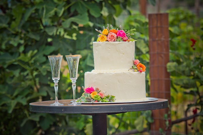 Green Acre San Diego Wedding Cake 2-Tier with Succulents