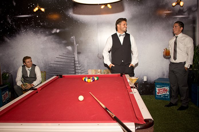Green Acre San Diego Wedding Groomsmen Shooting Pool, San Diego Wedding, organic wedding catering, equinox photo, Green Acre wedding style, friar tux shop, grey wedding suit