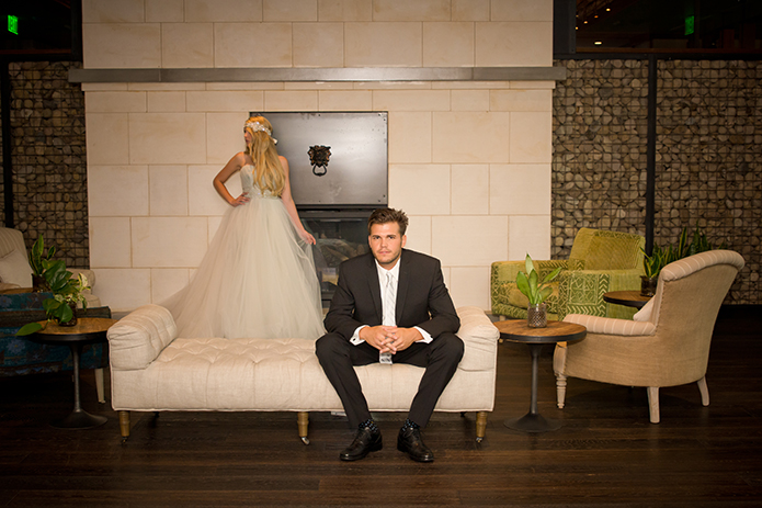 Green Acre San Diego Wedding Lounge Bride in Ballgown and Groom in Our Black Valencia Suit, San Diego Wedding, organic wedding catering, equinox photo, Green Acre wedding style, friar tux shop