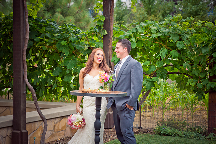 Green Acre San Diego Wedding Outdoor Wedding Bride is Wearing a Lace Gown and Groom is Wearing Our Steel Grey Allure Suit, San Diego Wedding, organic wedding catering, equinox photo, Green Acre wedding style, friar tux shop