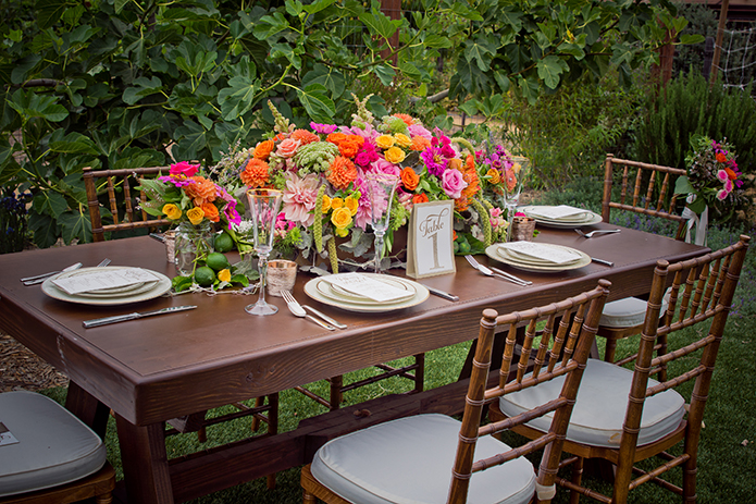 Green Acre San Diego Wedding Reception Colorful Tablescape