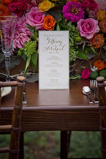 Green Acre San Diego Wedding Reception Table Menu, San Diego Wedding, organic wedding catering, equinox photo, Green Acre wedding style