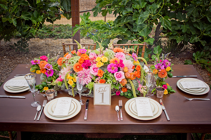 Green Acre San Diego Wedding Tablescape with Colorful Florals