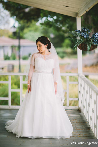 Casa Bella Event Center Wedding A-line Bridal Gown, bridal gown with lace cape