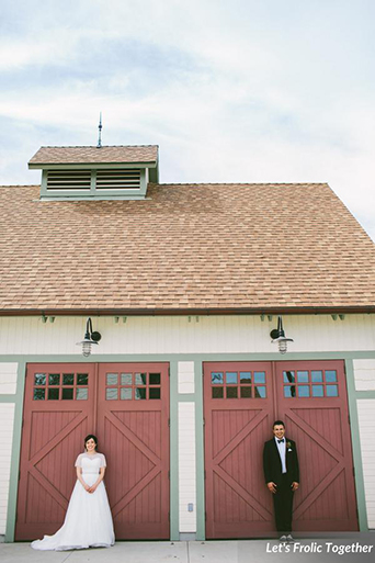 Casa Bella Event Center Wedding Bride and Groom Vintage Barn, barn wedding photo in front of barn doors