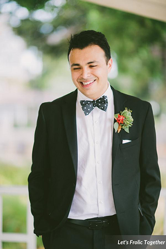 Casa Bella Event Center Wedding Groom Wearing Black Suit and Polka Dot Bow Tie, black suit with bow tie for groom