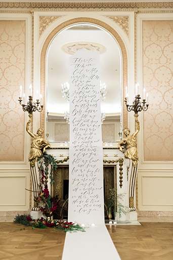 Westgate Hotel Wedding Ceremony with Calligraphy Aisle Runner, Westgate hotel wedding, san diego wedding, southern California wedding, burgundy tuxedo with shawl lapel, hues of burgundy, burgundy wedding, berry and burgundy, royal wedding, vintage wedding, royal vintage wedding, ornate gold details, fancy wedding, glam wedding, fall wedding, winter wedding, layered vintage, elegant lace, elegant calligraphy, romantic wedding, romance wedding, rich red color palette, ornate details, calligraphy aisle runner, elegant aisle runner, ceremony aisle runner, customized aisle runner, wedding ceremony decor, personalized aisle runner