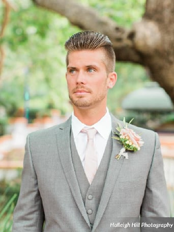 778881958053 ... Rancho las lomas vintage outdoor wedding groom heather grey suit with  matching vest and white dress ...