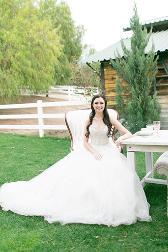 Two sisters farms fairytale wedding bride strapless ball gown with a sweetheart neckline and beaded bodice with white and pink floral bridal bouquet