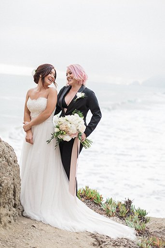 Blushing Brides in Malibu for Our Women's Tuxedo Shoot!