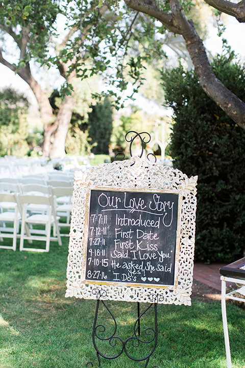 San luis obispo rustic wedding at dana powers house and barn ceremony chalkboard sign with white trim on stand next to white chairs with dates of bride and groom moments in life wedding photo idea for ceremony