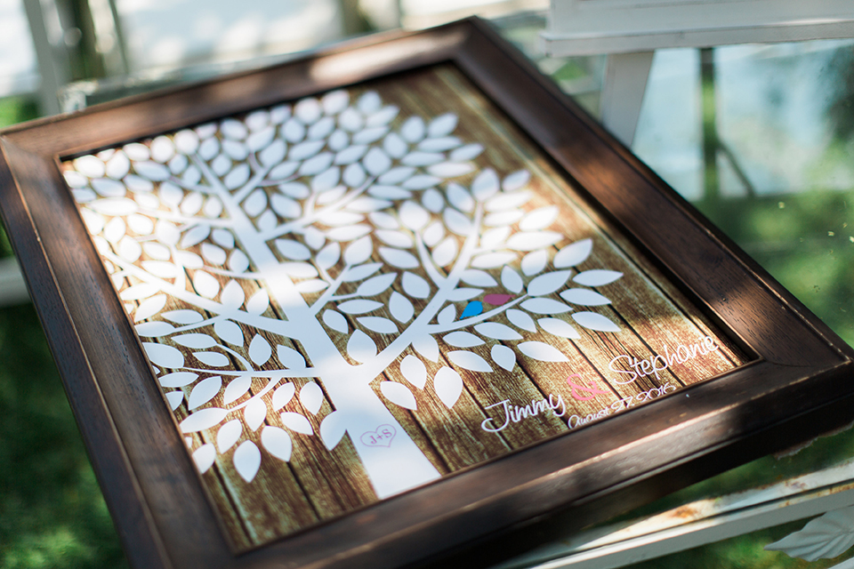 San luis obispo rustic wedding at dana powers house and barn brown wood picture frame with white tree and leaves for guests to write their names as guest book with bride and groom names wedding photo idea