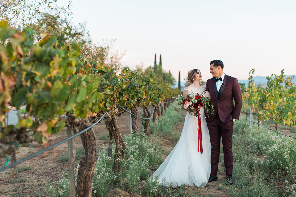 Burgundy & Mixed Metal Wedding at Wiens Vineyards