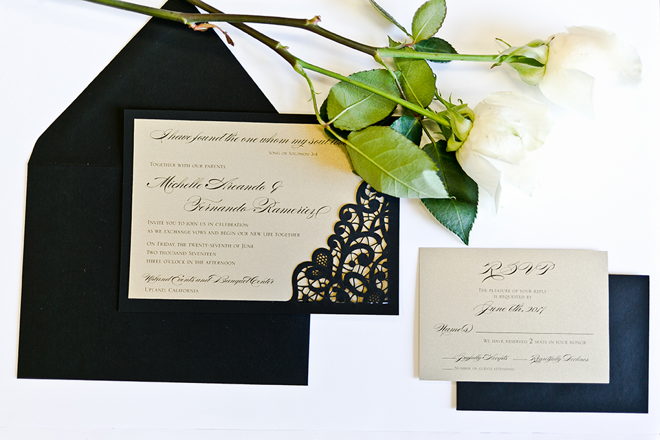 Upland wedding styled shoot off white wedding invitations with black lace design and black envelopes with white flower decor on white background wedding photo idea for invitations
