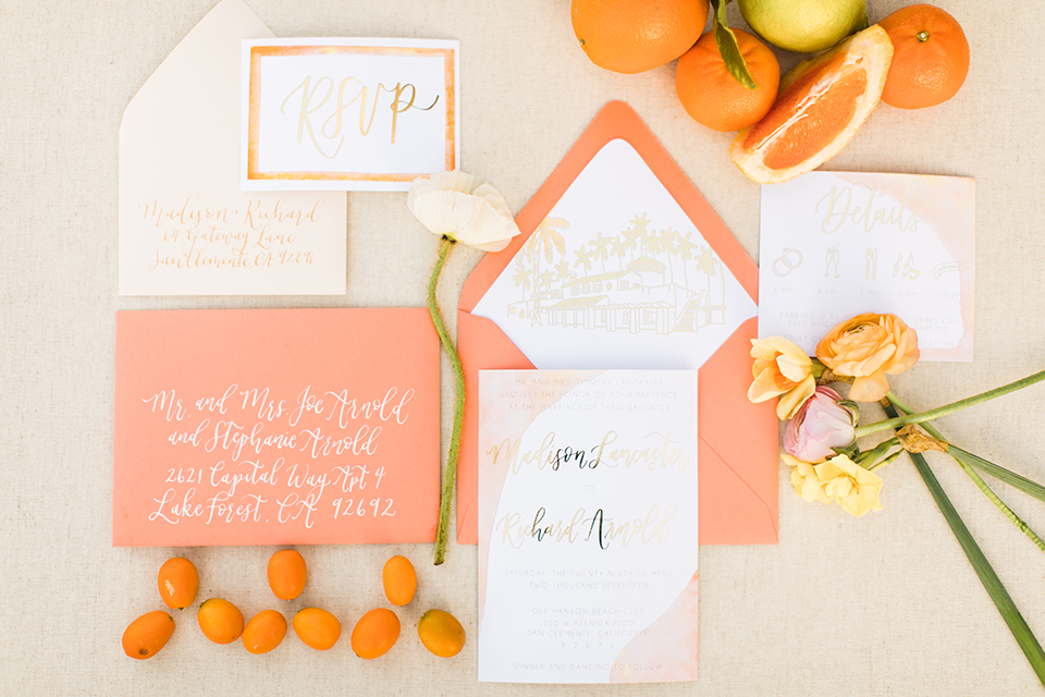 Orange County Beach Wedding At Ole Hanson Club Invitations And White With