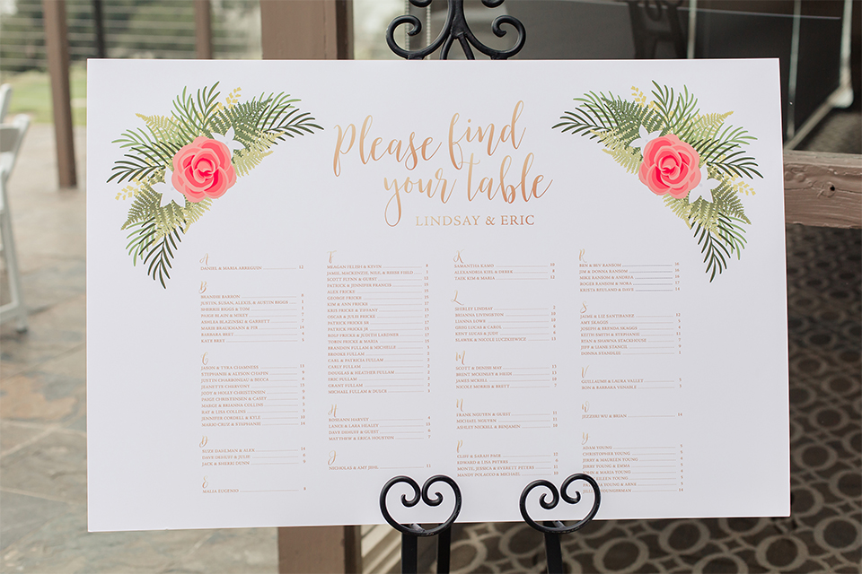 Los angeles wedding at los verdes golf club seating chart with pink and green flowers and gold calligraphy writing on big white sign wedding photo idea for decor