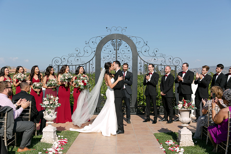 A Vineyard Wedding with a Red Color Scheme
