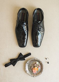 Shoes, bow tie and cufflinks